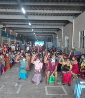 Workers of garment factory Huabo Times in Yangon, Myanmar, protest targeted dismissals of trade-union members