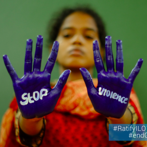 Photo India promoting a stop to vioence agains women and girls 2020 GBV